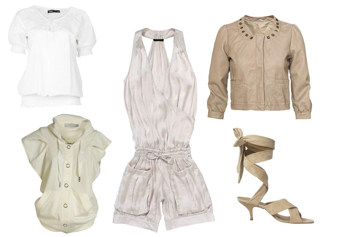 biała koszulka - Cubus; beżowa z krótkim rękawem - adidas by Stella McCartney; kombinezon - Sisley; skórzana marynarka - Kappahl; buty - Stefanel;