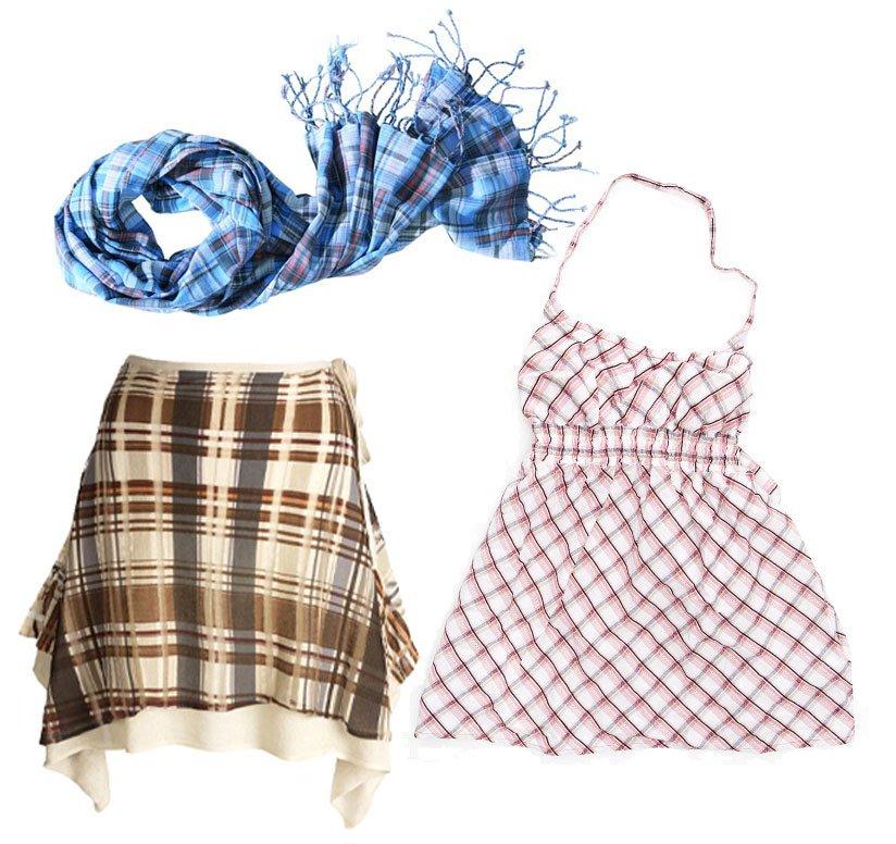 Szalik - H&M; spódnica - Stefanel; sukienka - Lee;