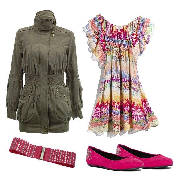 kurtka, pasek: Tally Weijl; sukienka: H&M;  baleriny: Vagabond