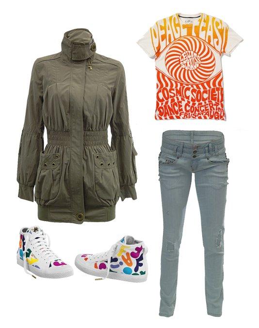 kurtka, spodnie: Tally Weijl; t-shirt: Levis; buty: adidas Originals