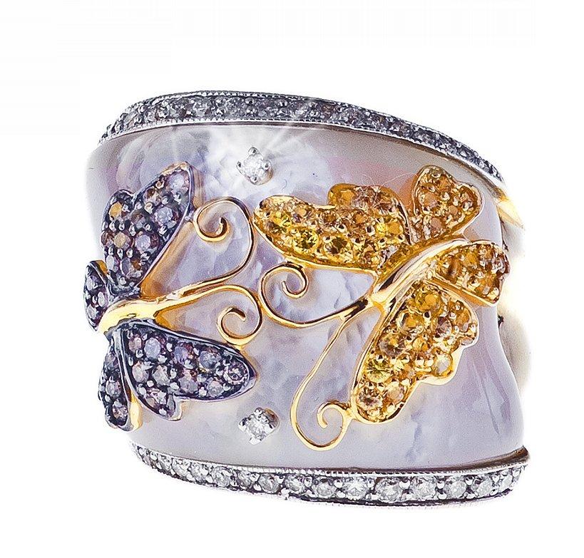 Pierścionek w złocie z złółtymi szafirami i brylantami z masą perłową, cena 9490 zł