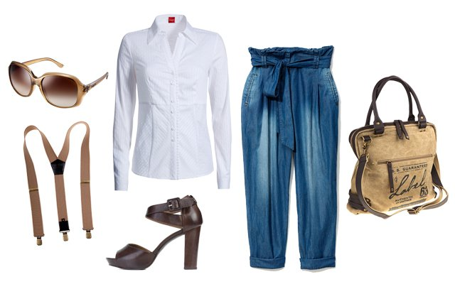 Okulary: Vogue; szelki, torba: Big Star; koszula: Olsen, buty: Ryłko; spodnie: Reserved
