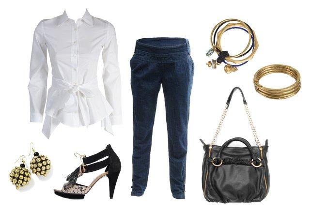 Koszula, bransoletki: Stefanel; kolczyki: Reserved; buty: Ryłko; spodnie: Tally Weijl; torba: Wittchen.