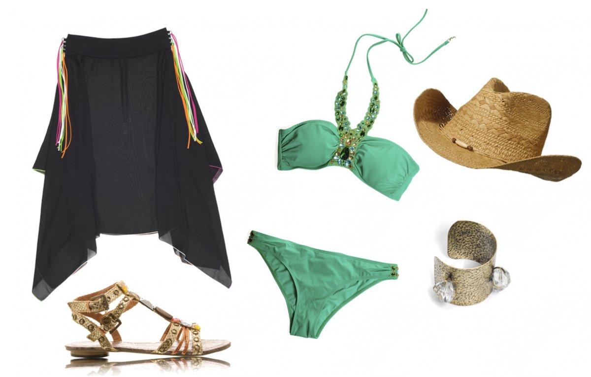 Tunika: Gideon Oberson; buty: Dee Zee; bikini: H&M; kapelu oi bransoletka: C&A