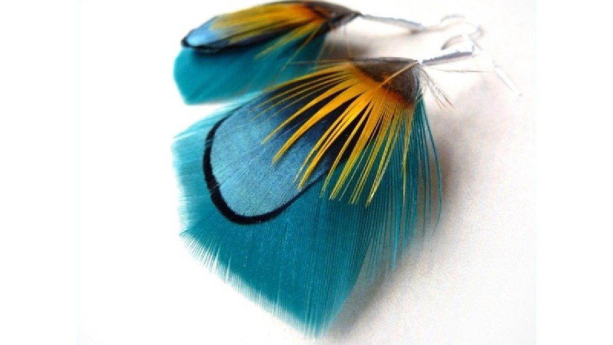 Kolczyki z ptasich piórek