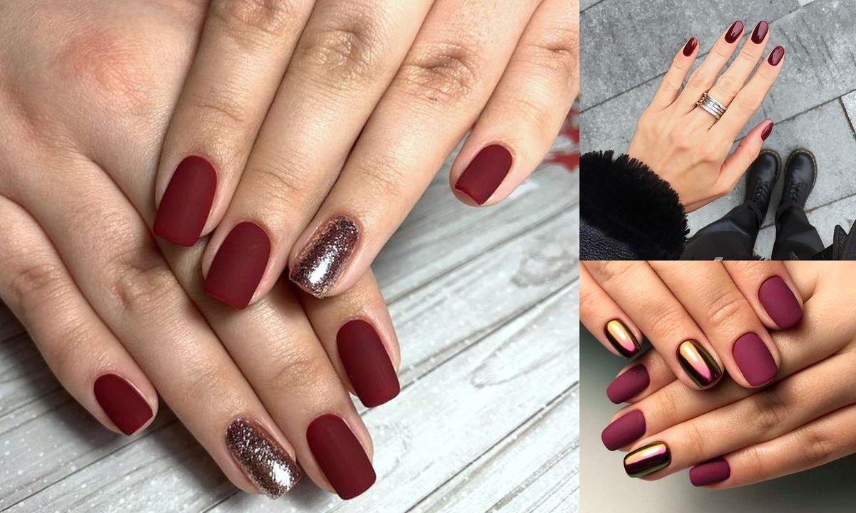 Bordowy manicure - 20 przepięknych zdobień
