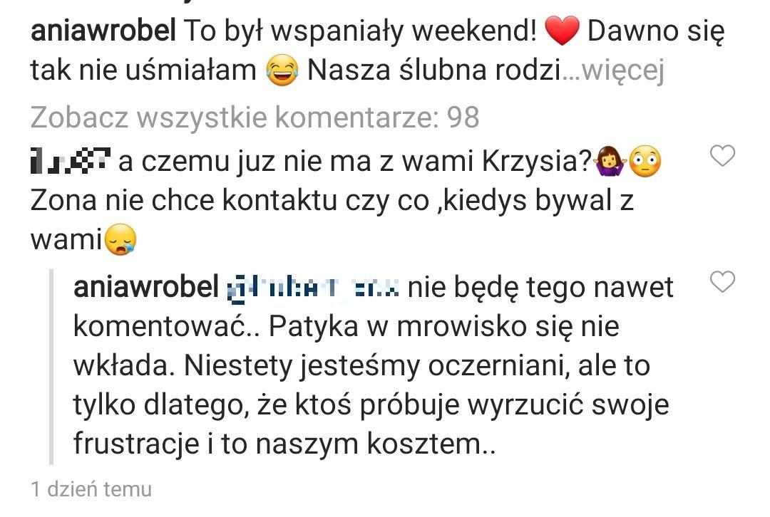 Ania Wróbel, wpis na Instagramie