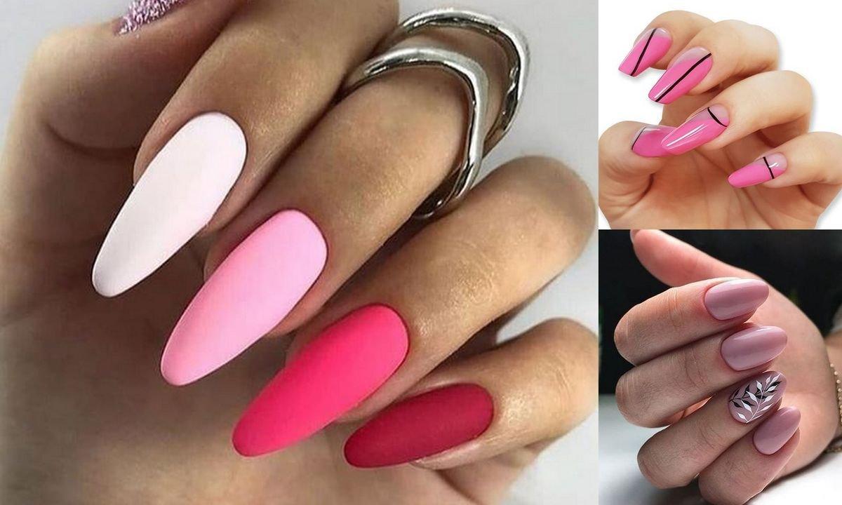 Manicure w różnych odcieniach różu - katalog wiosennych zdobień hybrydowych