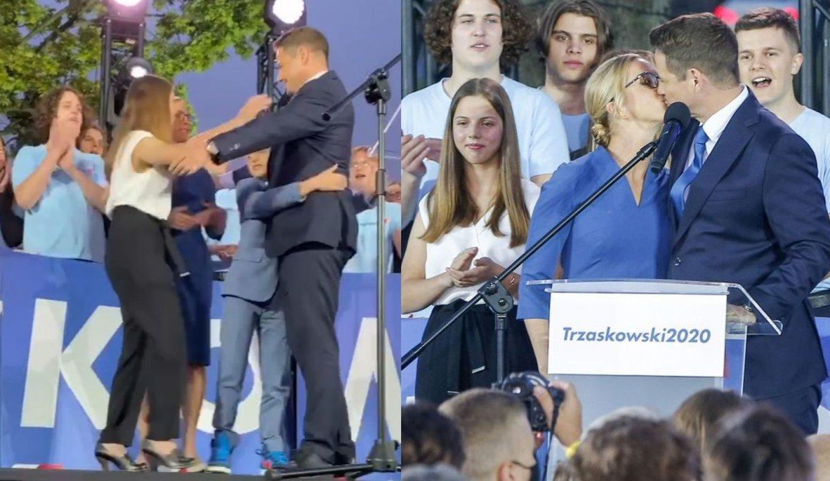 Rafał Trzaskowski w sztabie z żoną i z dziećmi. 16-letnia córka to jego kopia!