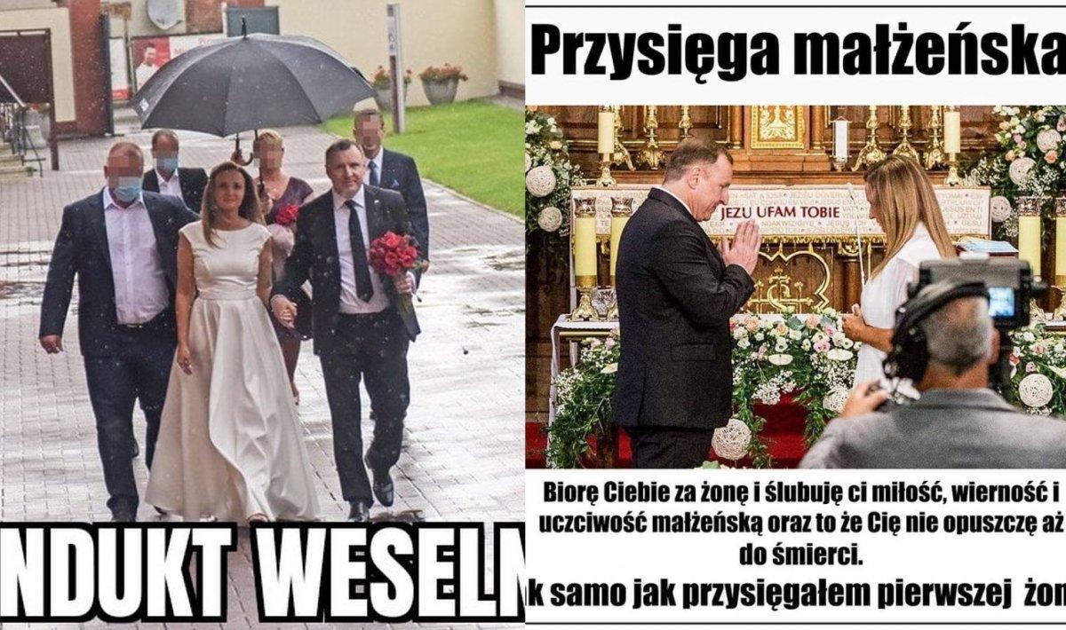 Jacek Kurski wziął głośny ślub kościelny po raz drugi. Internauci tworzą memy