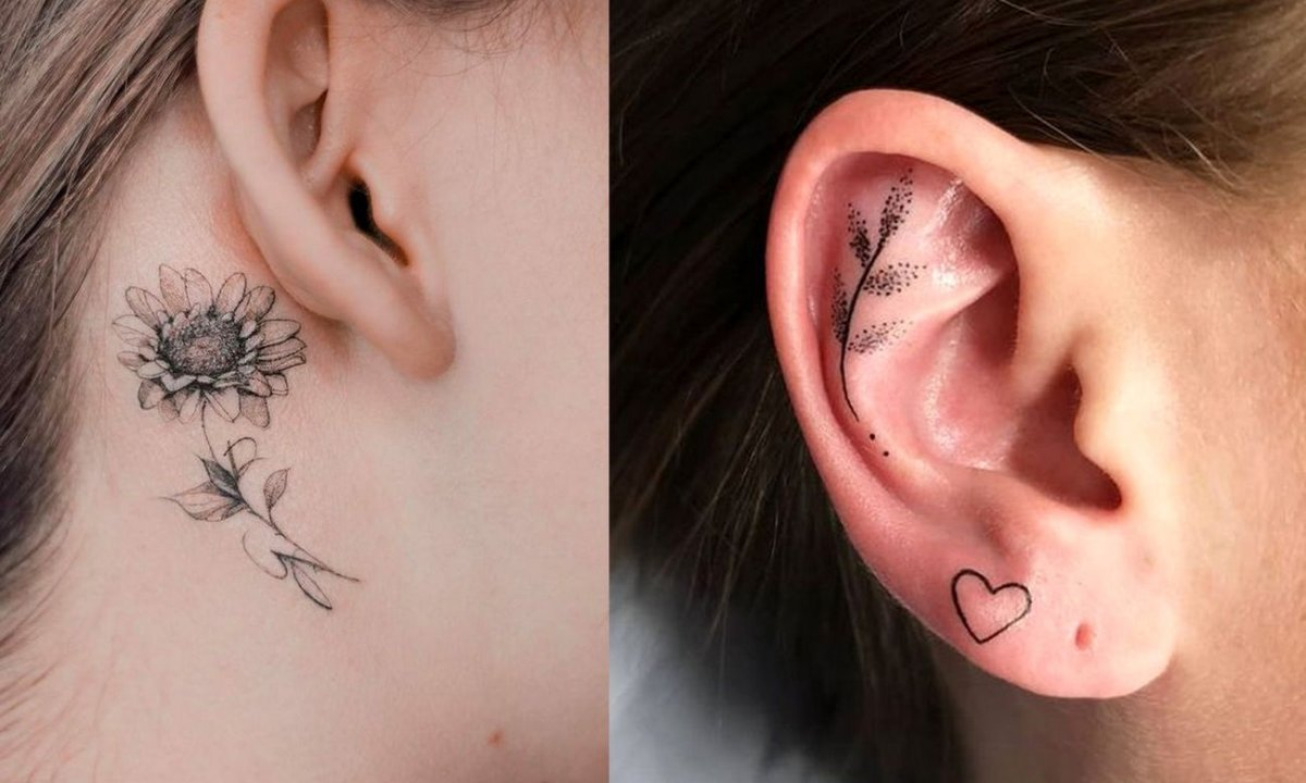 Tatuaż przy uchu - 21 najmodniejszych wzorów dla dziewczyn