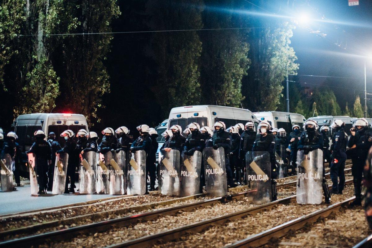 policja w czasie strajku