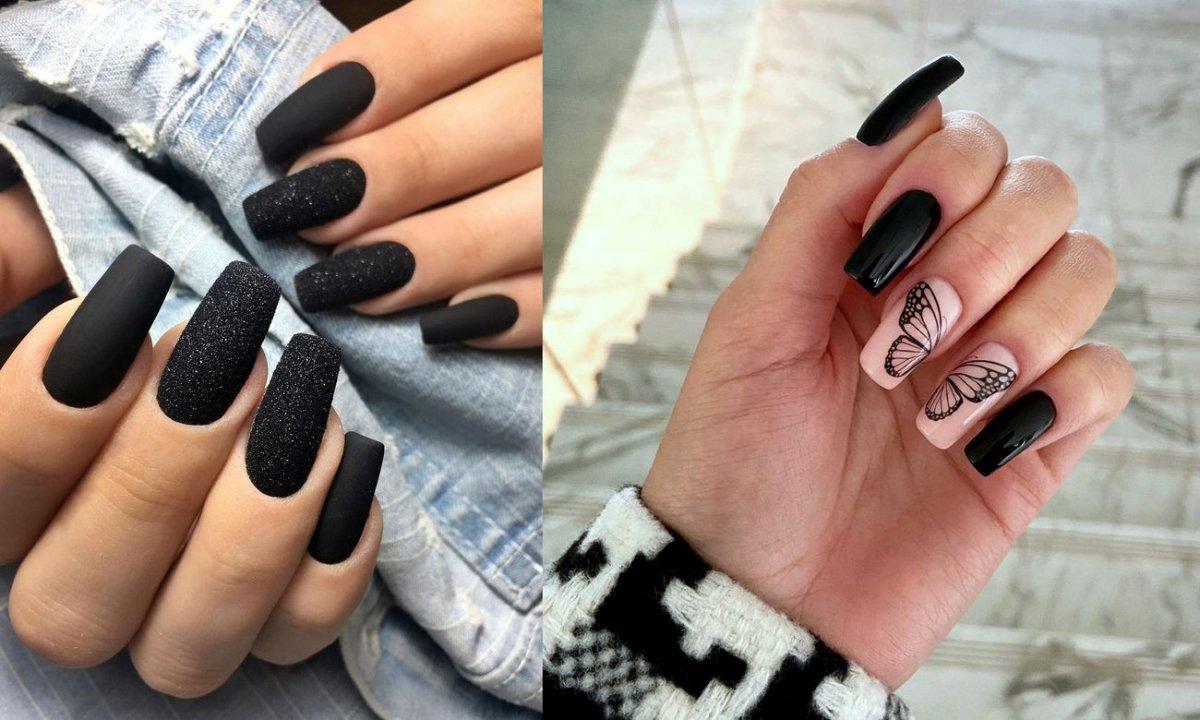 Czarny manicure - kilkanaście ciekawych zdobień