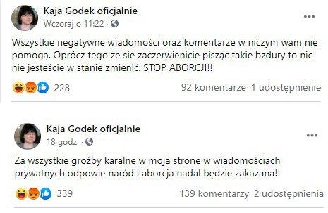 wpisy na Facebooku Kai Godek