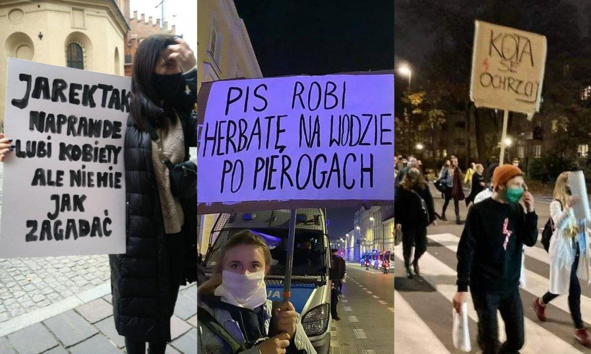 Strajk Kobiet trwa od czwartku. Oto najciekawsze hasła z transparentów