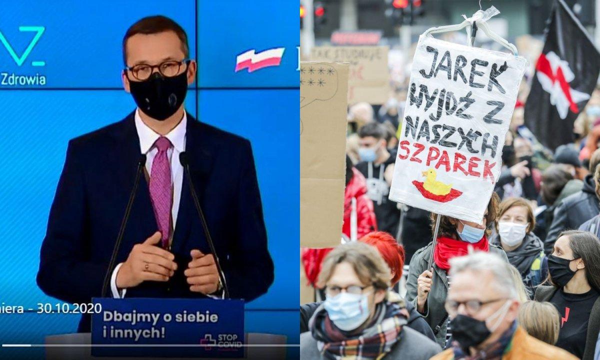 Morawiecki do strajkujących kobiet: Proszę tych, którzy mają złość, zostańcie w domach