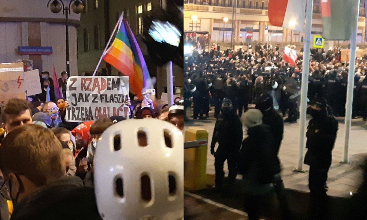 Policja blokowała Strajk Kobiet. Na koniec otoczyła protestujących i blokowała wyjścia