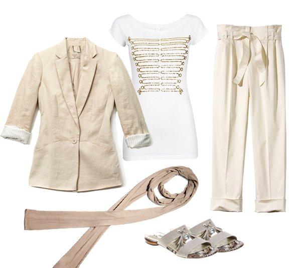 Marynarka, szalik: Reserved; bluzka: Cubus; spodnie: s.Oliver; klapki: Gino Rossi