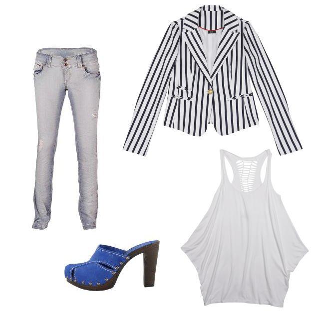 marynarka, bluzka: F&F; spodnie: Tally Weijl, buty: Prima Moda