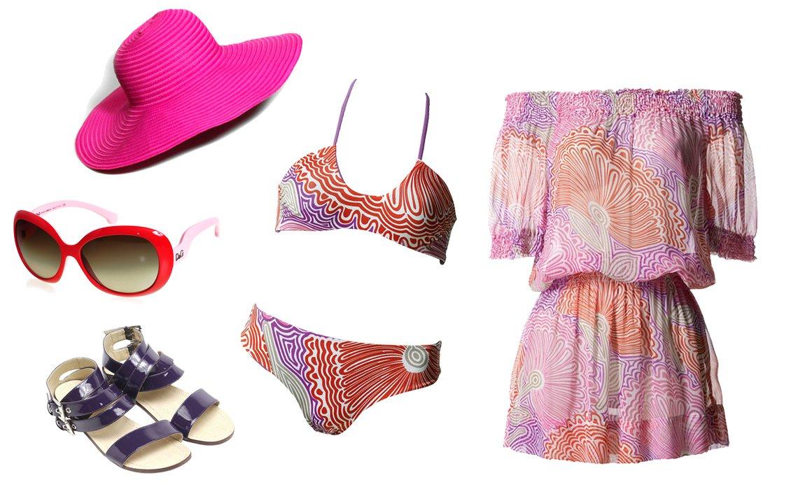 Kapelusz: Mohito; okulary D&G; buty: Sisley; bikini i tunika: Benetton