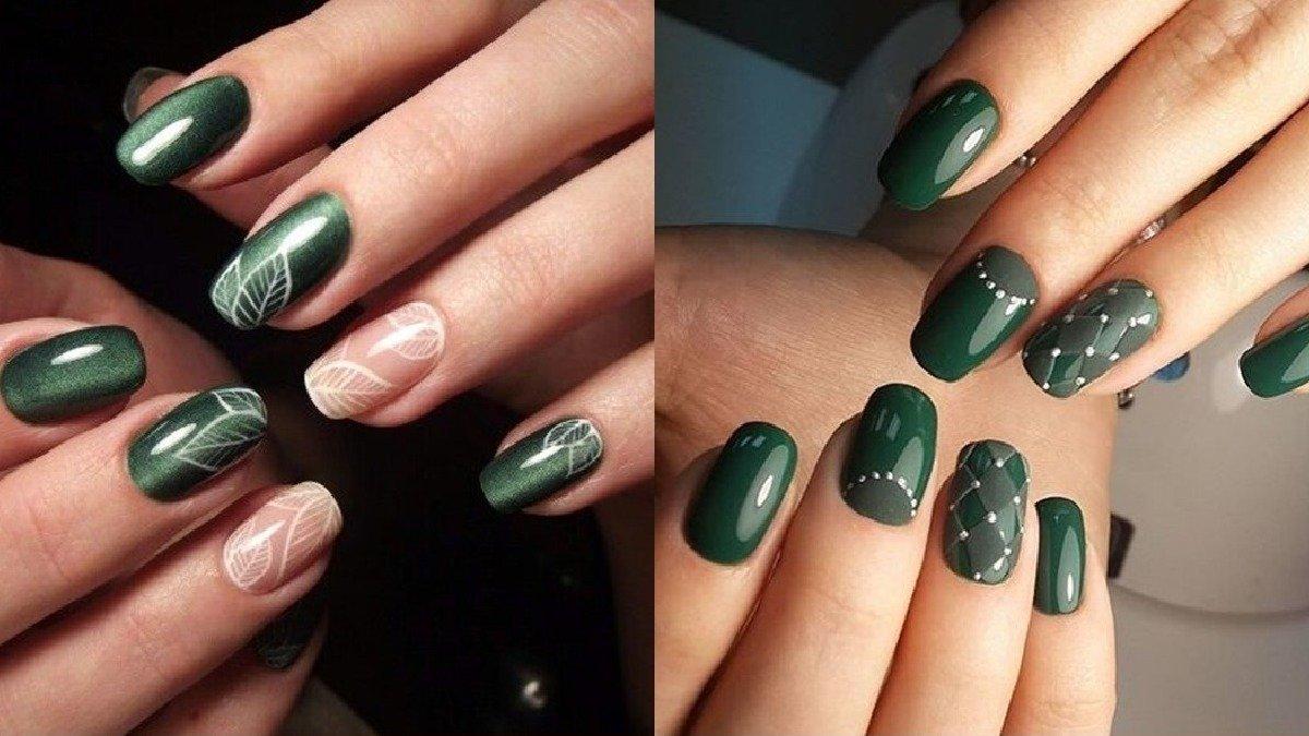 Szmaragdowy manicure - 21 pomysłów na manicure w kolorze butelkowej zieleni