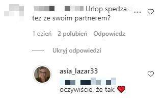 Asia Lazar, komentarz na Instagramie