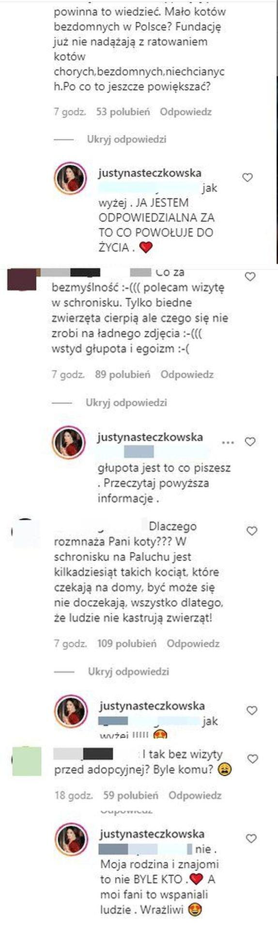 Justyna Steczkowska, komentarz koty