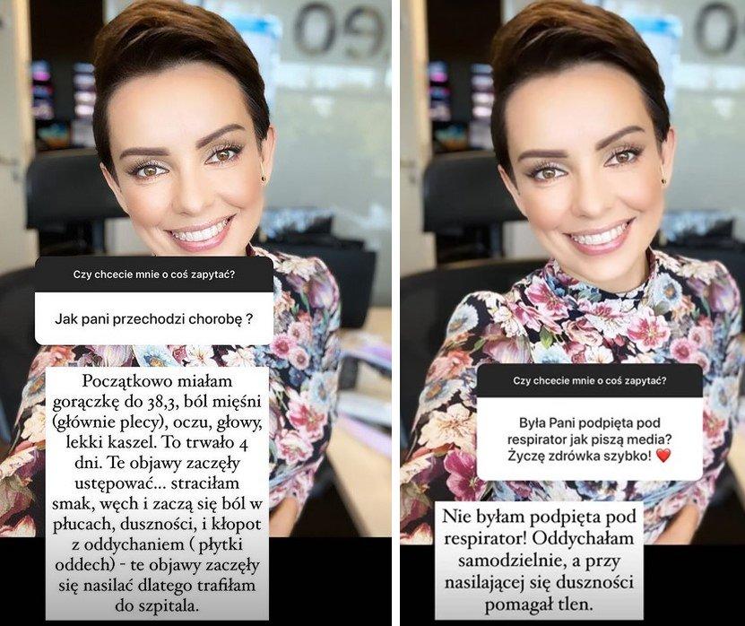 Dorota Gardias uśmiechnięta odpowiada fanom