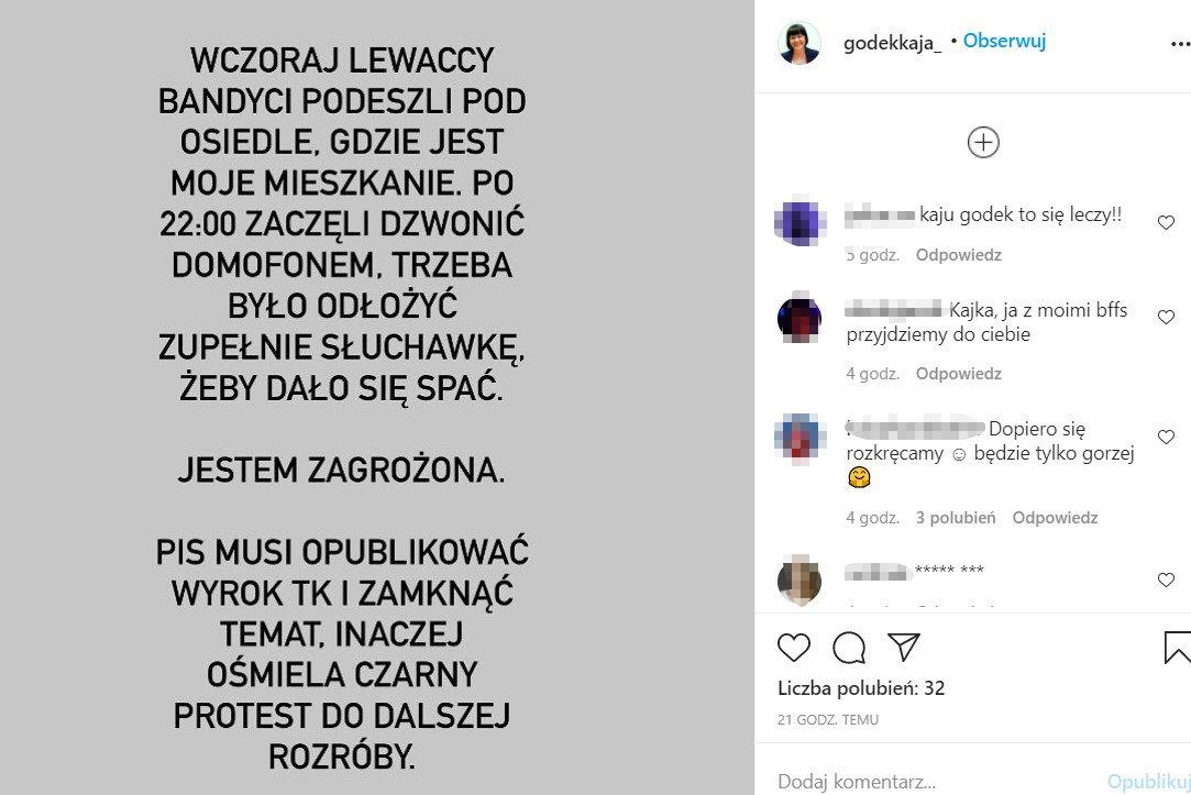 Wpis Kai Godek na Instagramie