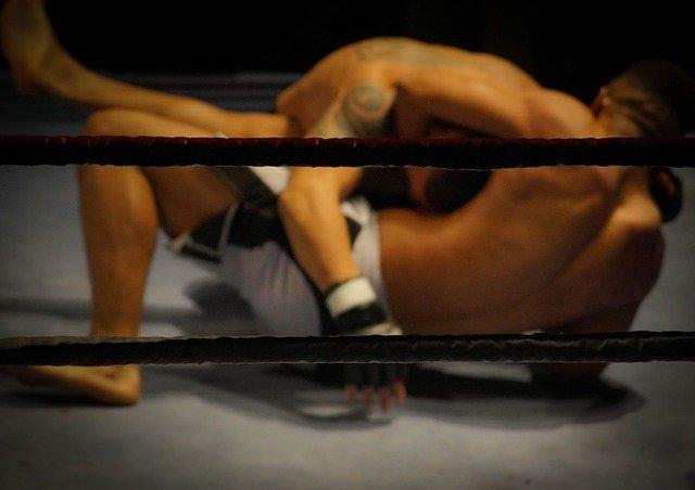 mężczyźni bez koszulek biją się w ringu