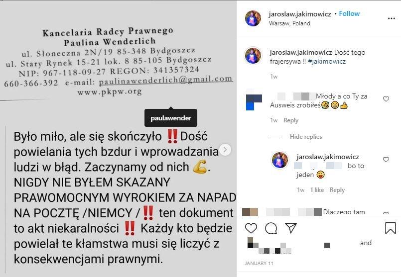 Jarosław Jakimowicz, Instagram