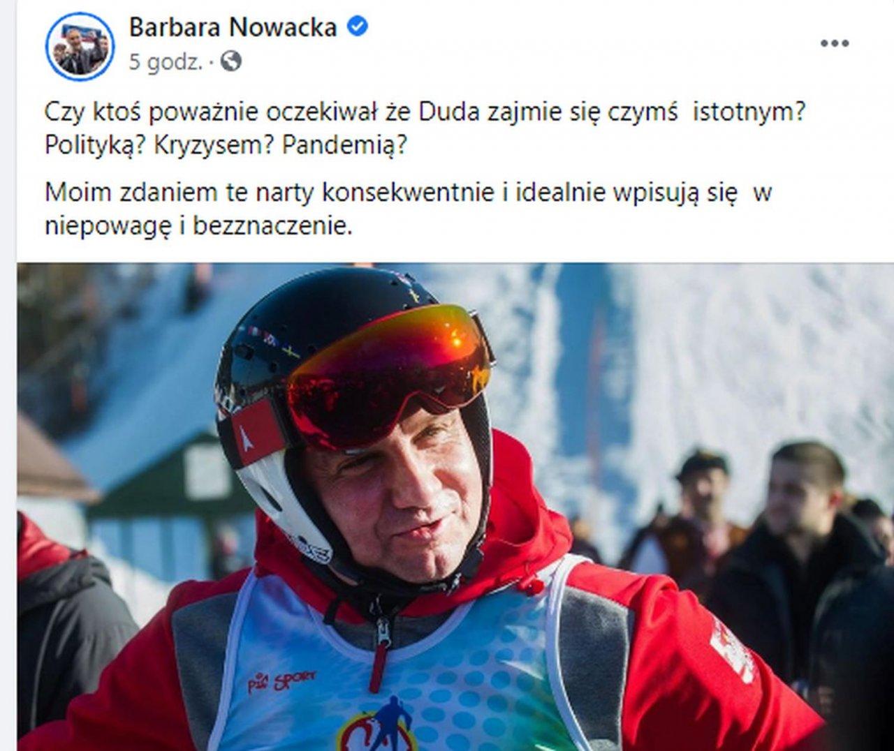 Andrzej Duda, Barbara Nowacka, wpis