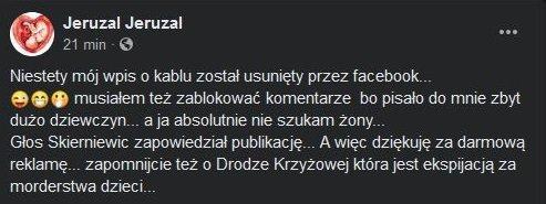 Dariusz Drzewiecki, Facebook
