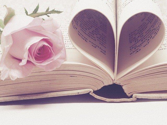 serce ułożone z kartek w książce a na nich leży różowa róża