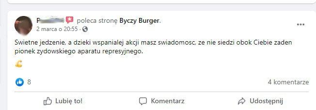 komentarz dotyczący restauracji Byczy Burger