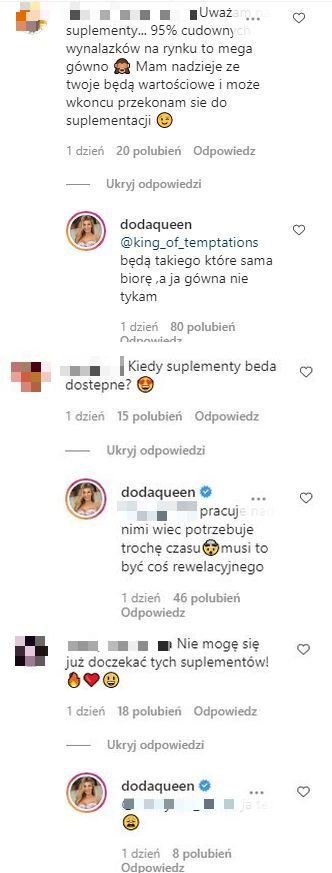 Doda, Instagram, komentarz