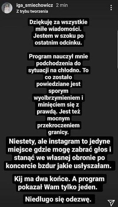 Iga Śmiechowicz, Instagram, komentarz