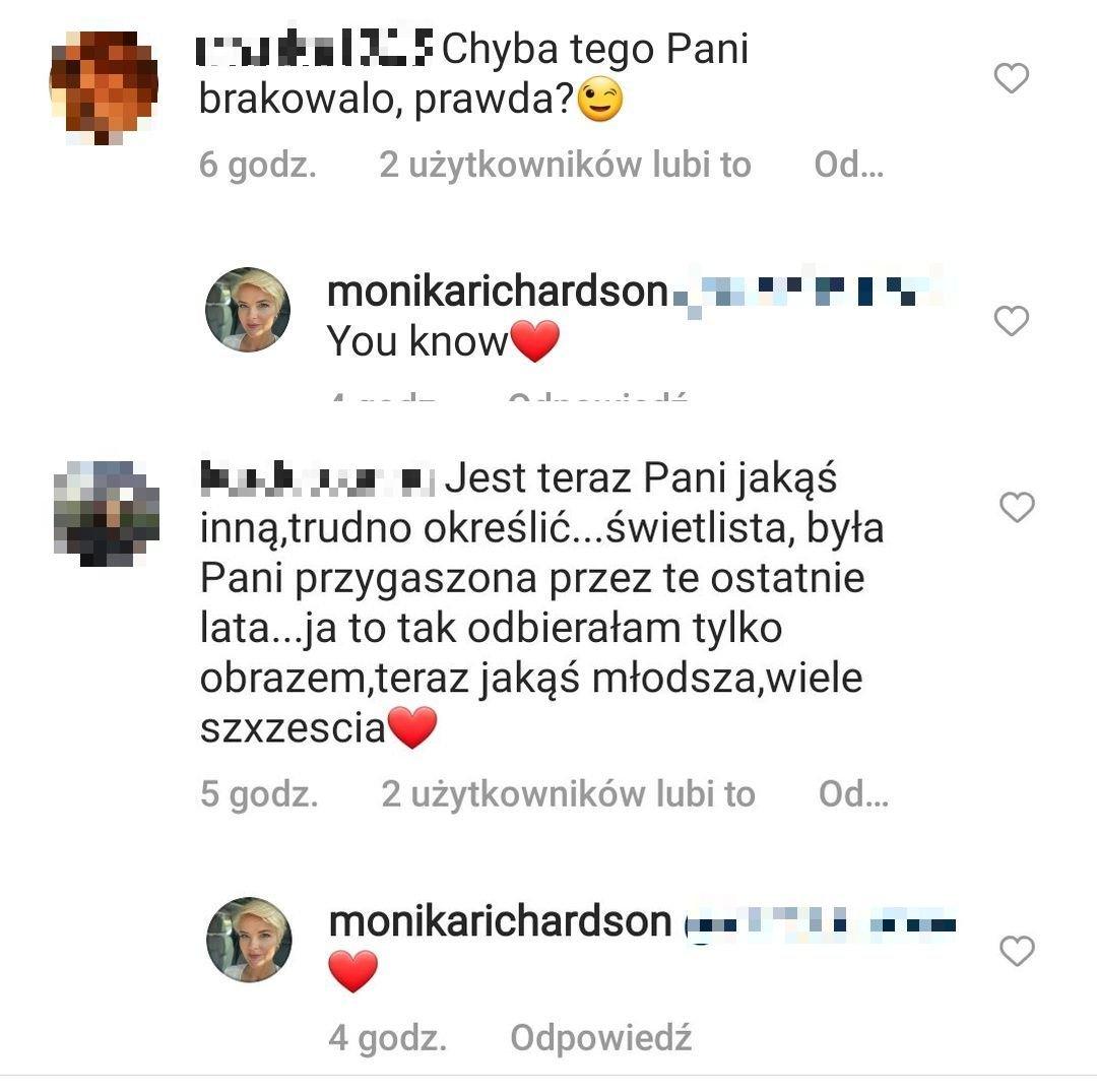 Monika Richardson, wpis na Instagramie