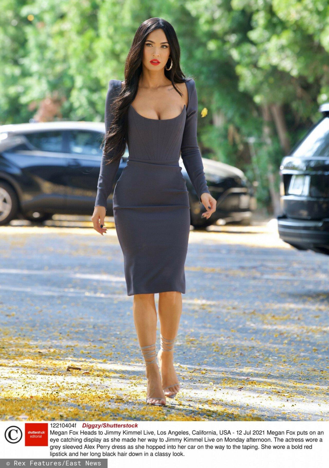 Megan Fox w szarej sukience