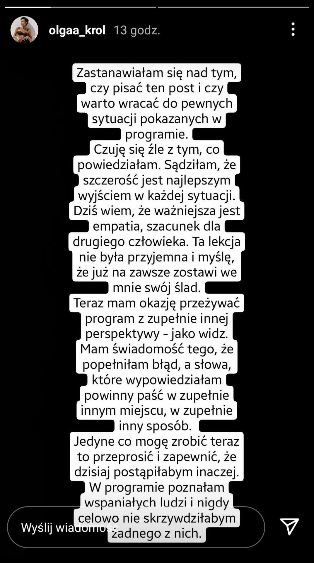 Olga Król na Instagramie