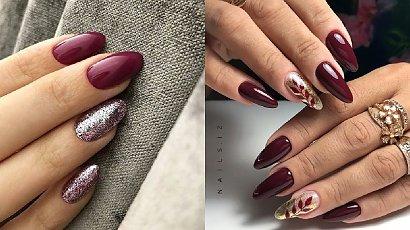 Bordowe paznokcie - 20 inspiracji na modny, bordowy manicure [GALERIA 2020]