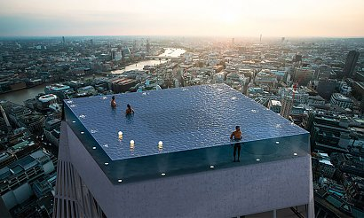 Ten basen na dachu robi piorunujące wrażenie! Jak do niego wejść? Wszyscy zadają sobie to pytanie