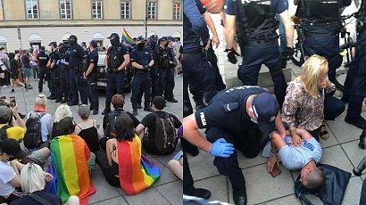 Policjanci użyli siły wobec protestu LGBT w Warszawie. Mieli uderzyć też posłankę i reportera