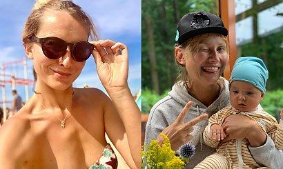 """Joanna Moro w bikini! Kąpie się w morzu z półroczną córką. """"Nie przejmujemy się bakteriami"""""""