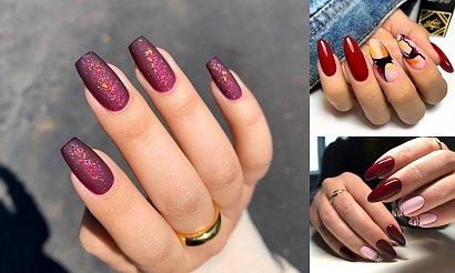 Bordowy manicure - 22 jesienne stylizacje paznokci
