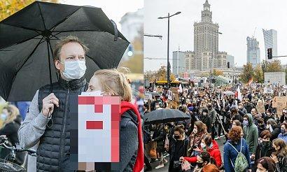Maciej Stuhr z żoną na Strajku Kobiet w Warszawie. Przyłapali go paparazzi