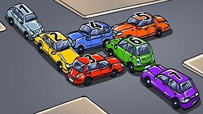 Które auto musi zniknąć, aby inne przejechały swobodnie?