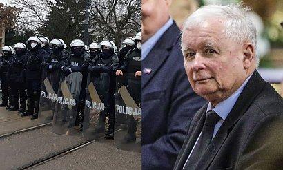 Strajk Kobiet: Kilkuset policjantów pilnowało domu Jarosława Kaczyńskiego. Nowe zdjęcia