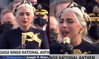 Lady Gaga zaśpiewała hymn USA na inauguracji Joe Bidena! Internauci: Czuję ciary! Ale w co ona się ubrała?