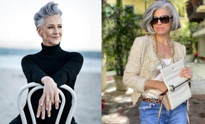 Modne siwe krótkie fryzury dla kobiety dojrzałej